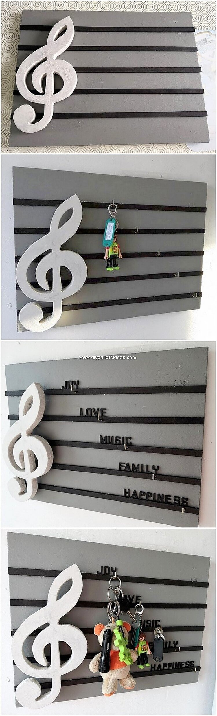 Pallet Wall Shelf Key Rack