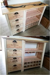 Pallet Wood Shelving Cabinet with Drawers