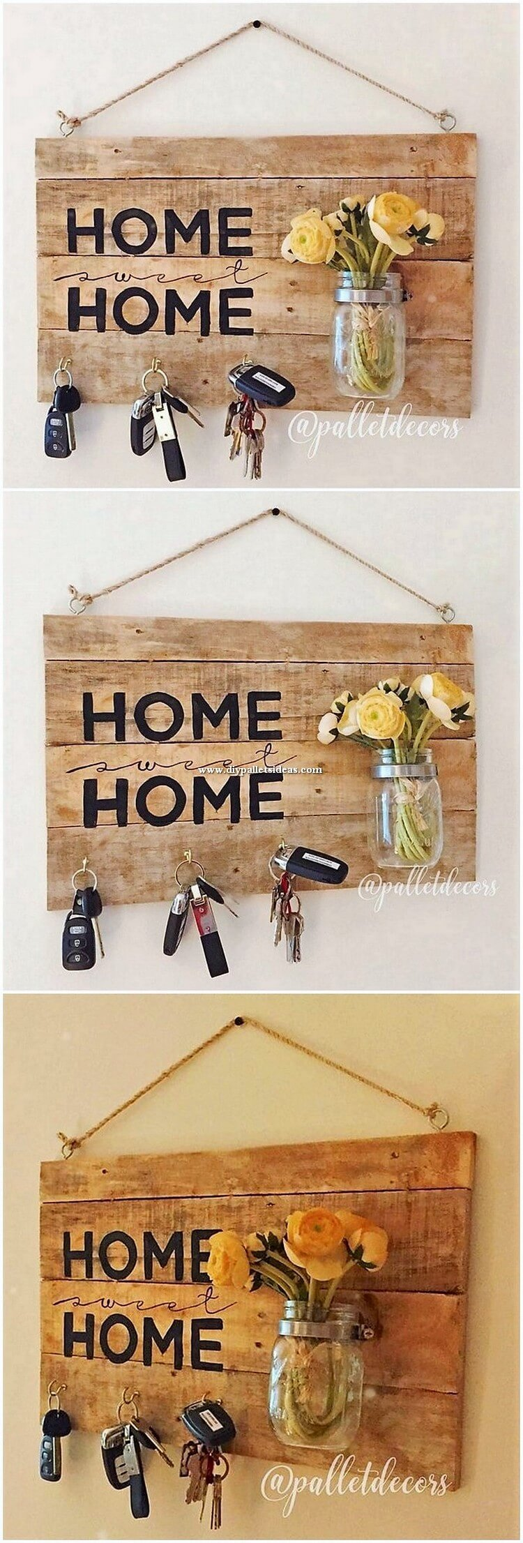 Pallet Wall Decor with Key Rack